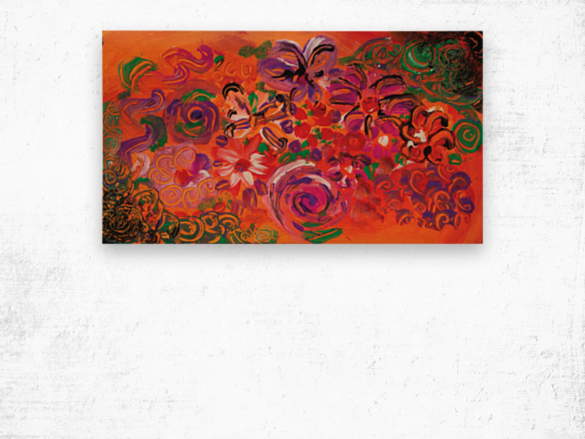 abstract colorful garden Wood print