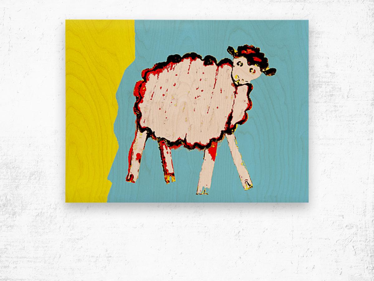 Little Aussie Sheep - Blue Wood print