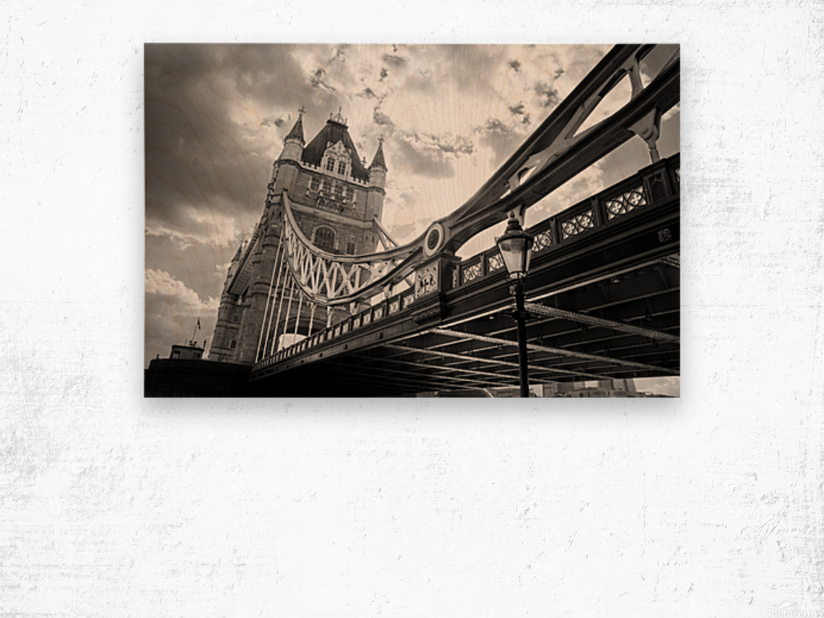 The Might of Tower Bridge Black and White Wood print