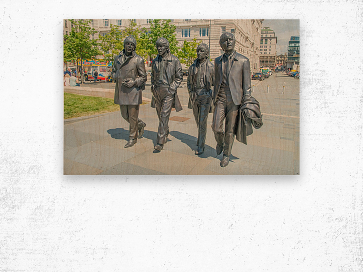 The Beatles Statue Wood print