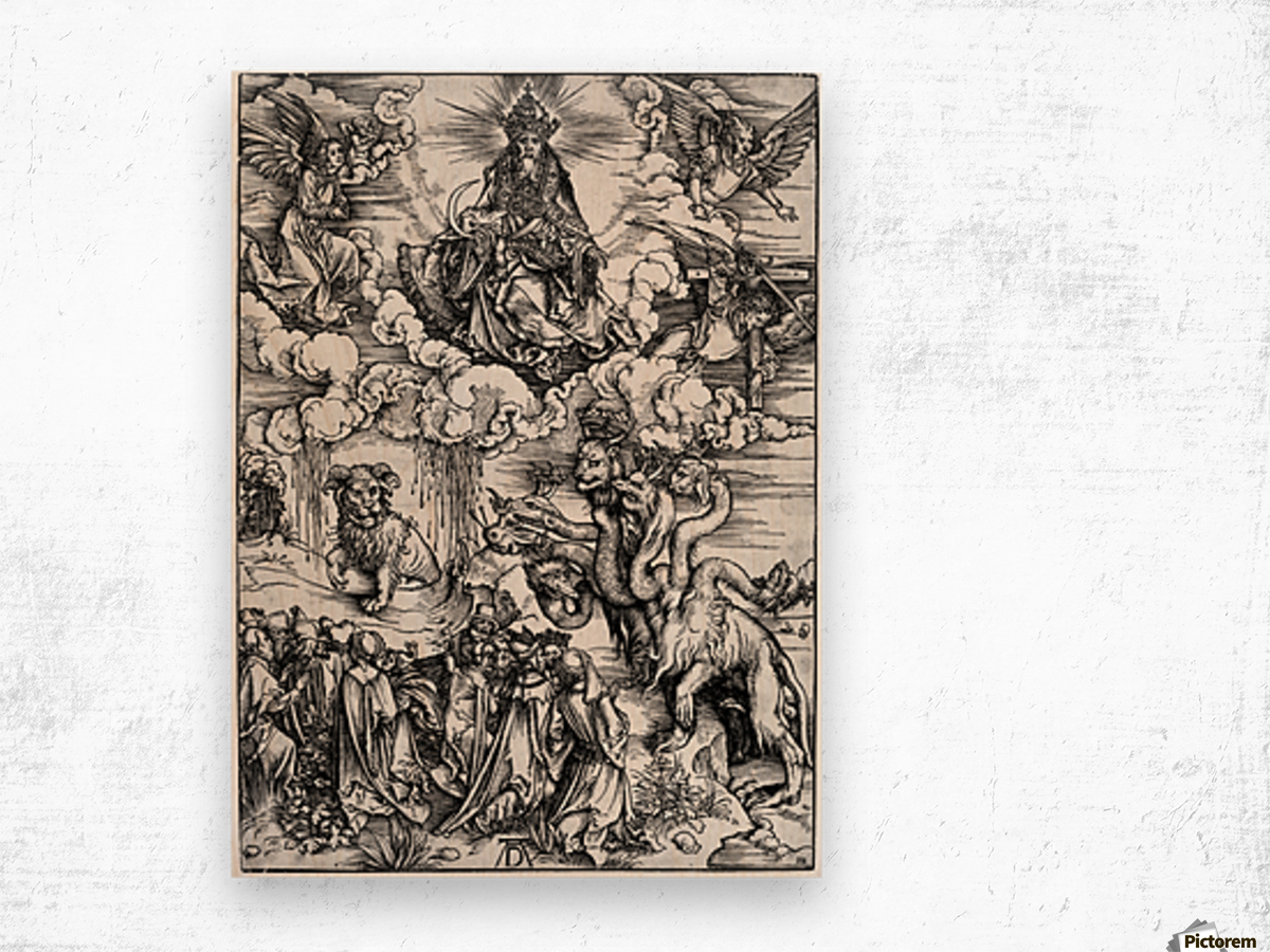 The Revelation of St John The Sea Monster and the Beast with the Lambs Horn Wood print