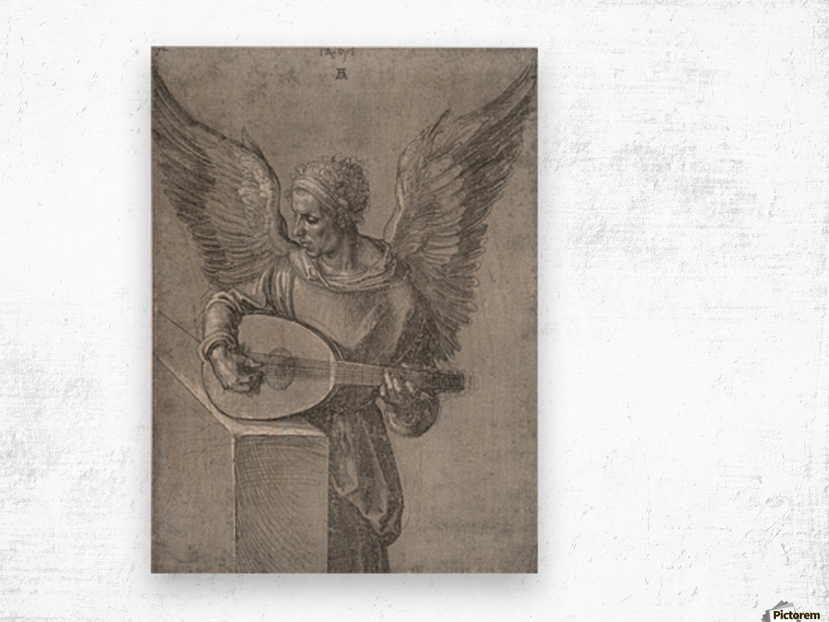 Winged Man In Idealistic Clothing, playing a Lute Wood print