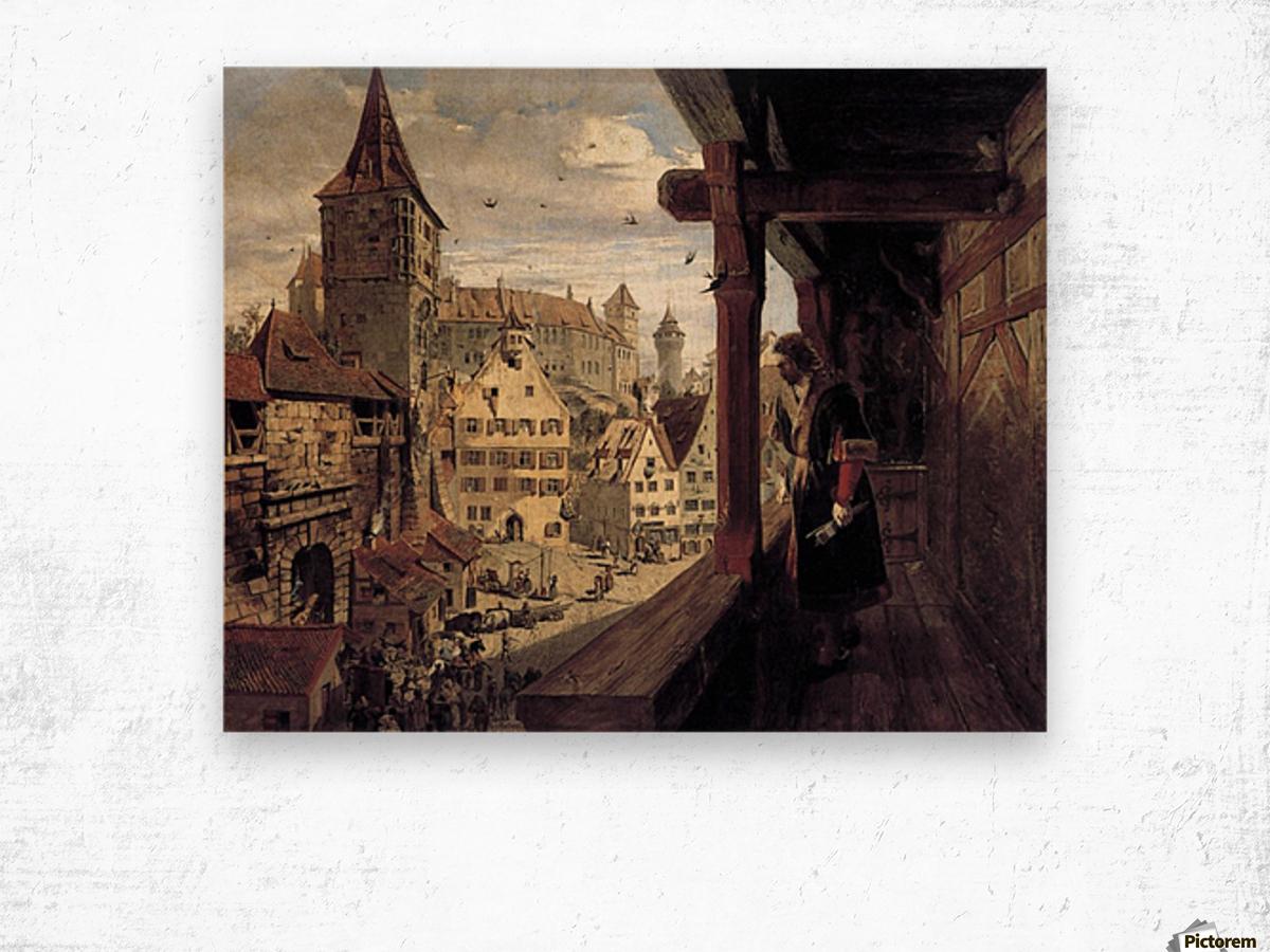 Albrecht Dürer on the Balcony of his House Wood print