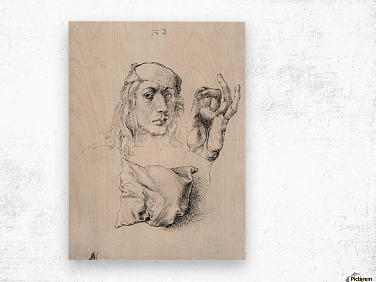 Study sheet with self-portrait, hand, and cushions Wood print