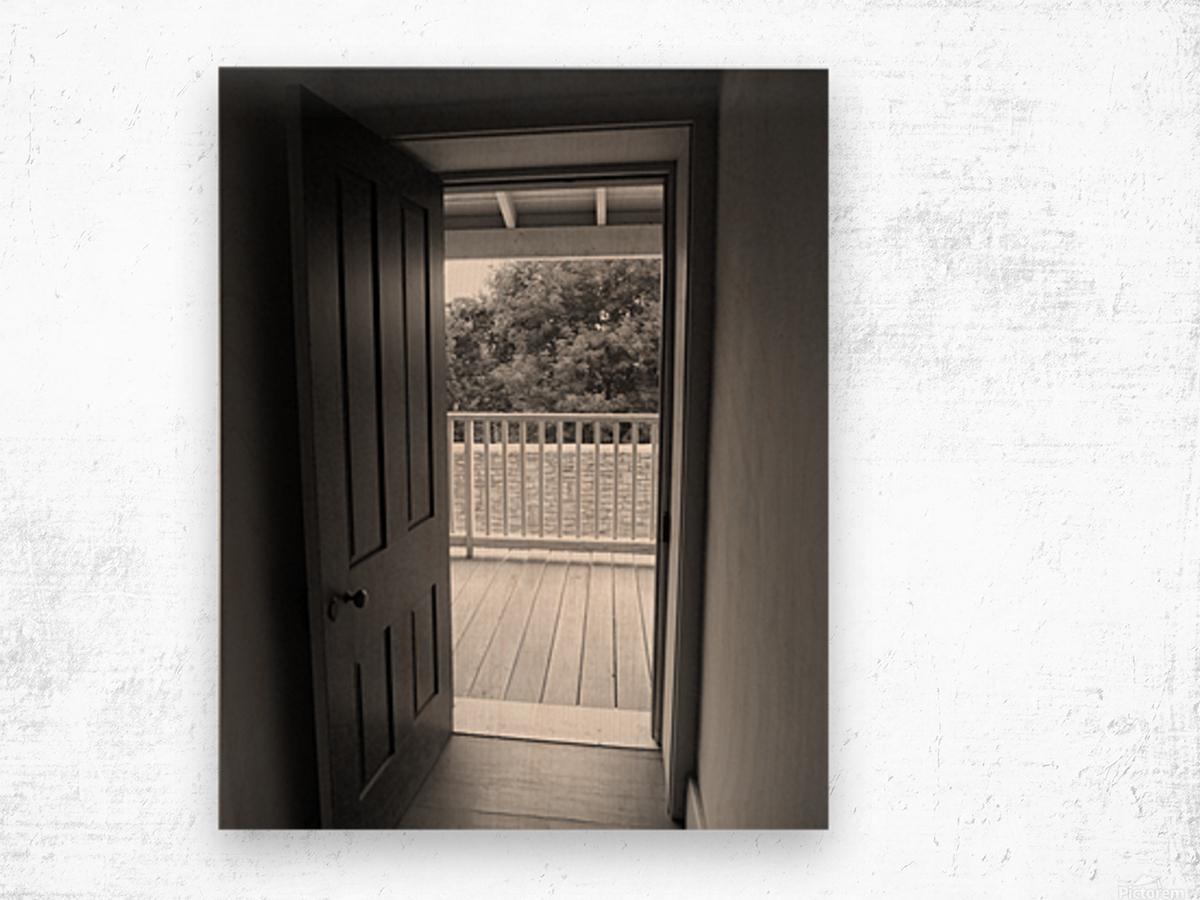 Open Door Black & White Wood print