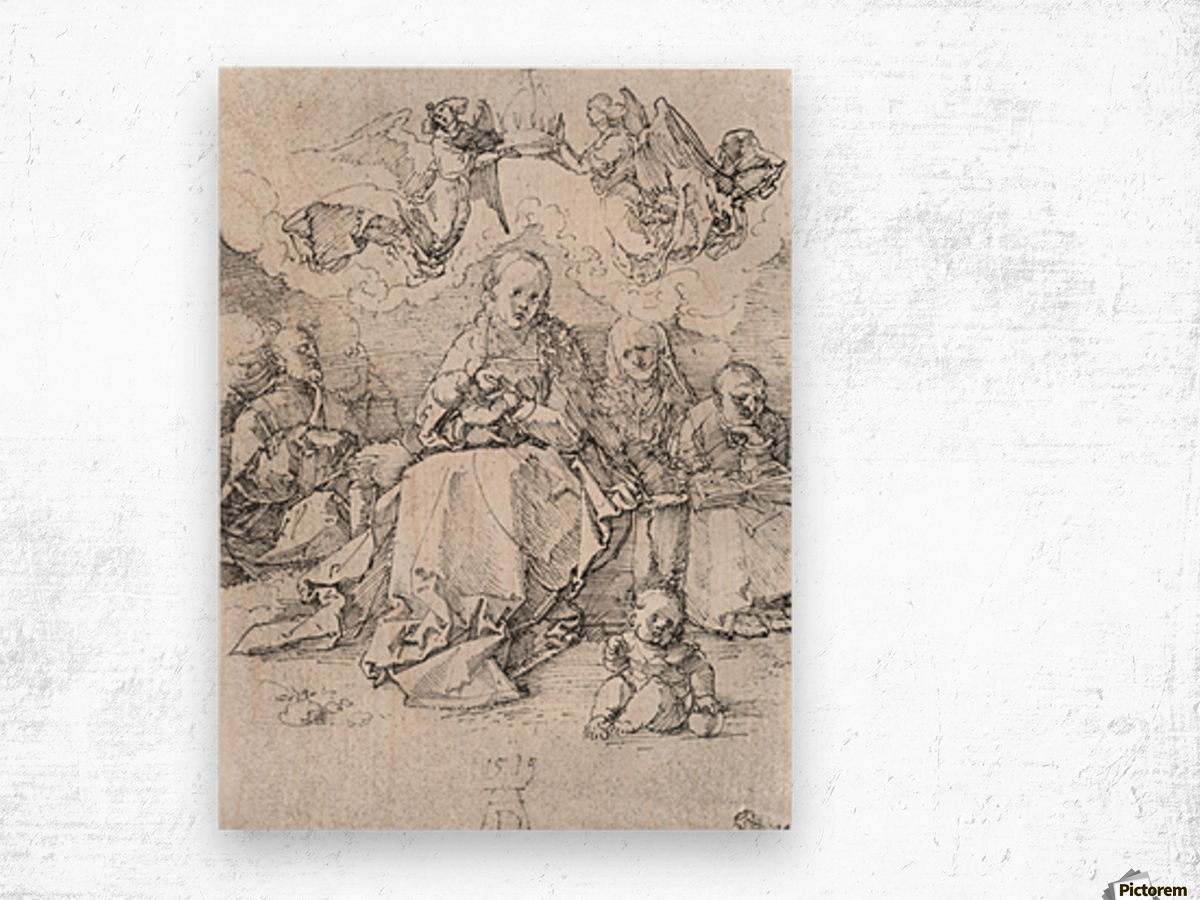 Holy Family crowned by two angels Wood print
