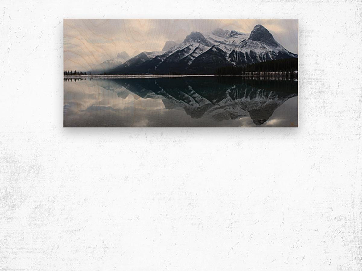 Canmore Winter Mountain Panorama Wood print