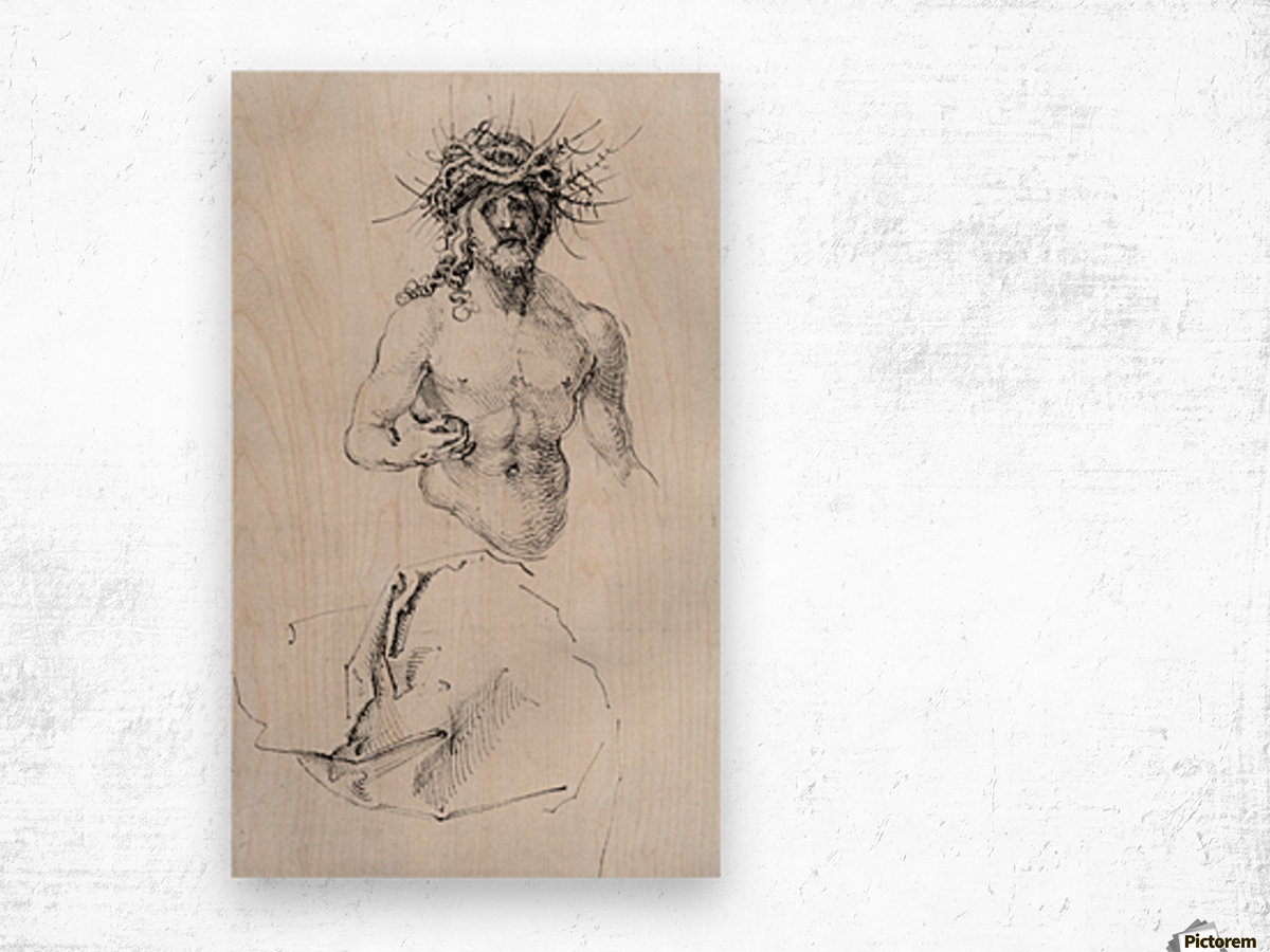 Study sheet with Christ as Man of Sorrows and a garment study Wood print