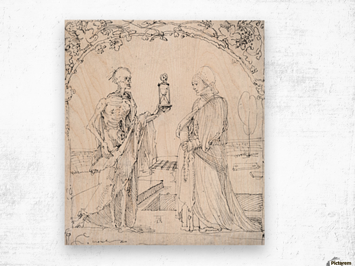Death and wife Wood print