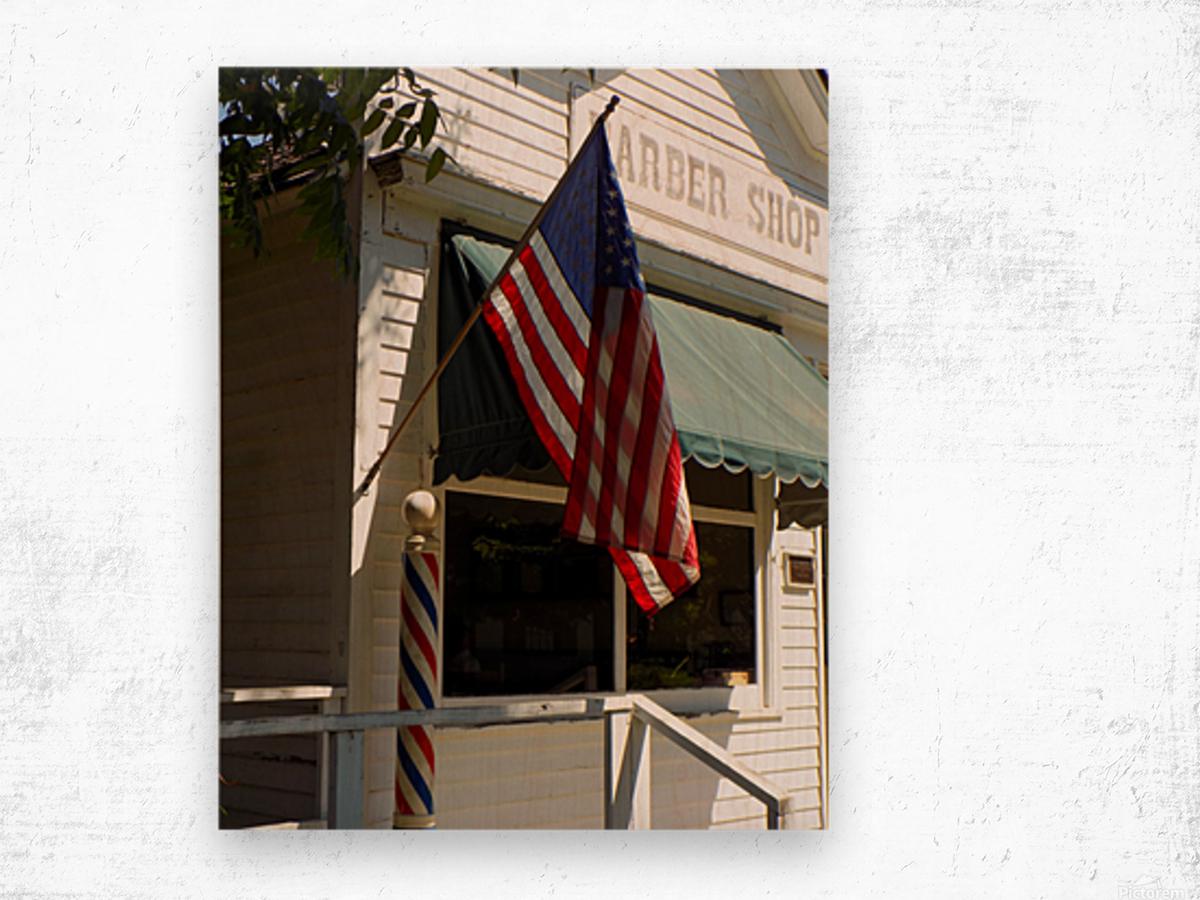 Patriotic Barber Shop Wood print