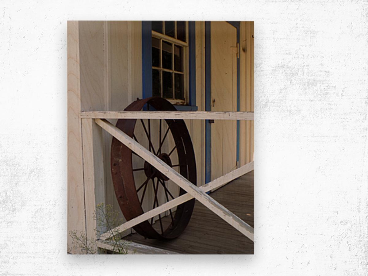 Wagon Wheel on Porch Wood print