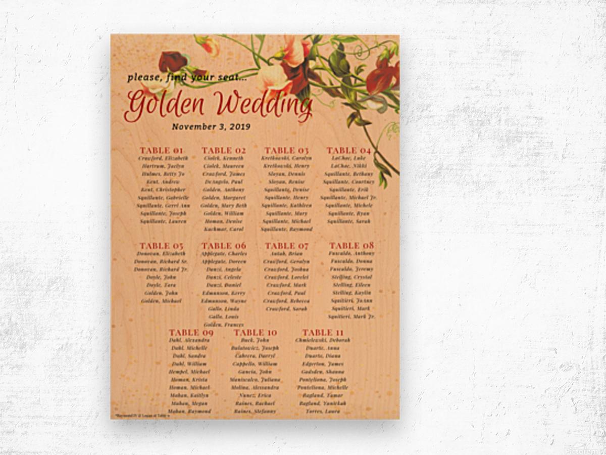 Maroon Floral Vintage Spring Formal Seating Chart Impression sur bois