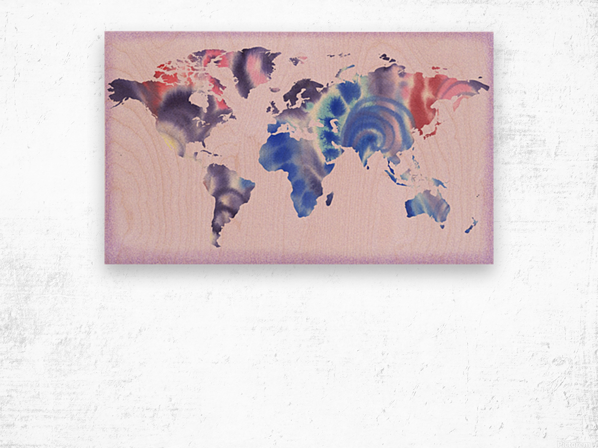 Watercolor Silhouette World Map Lilac Blue And Purple Wood print