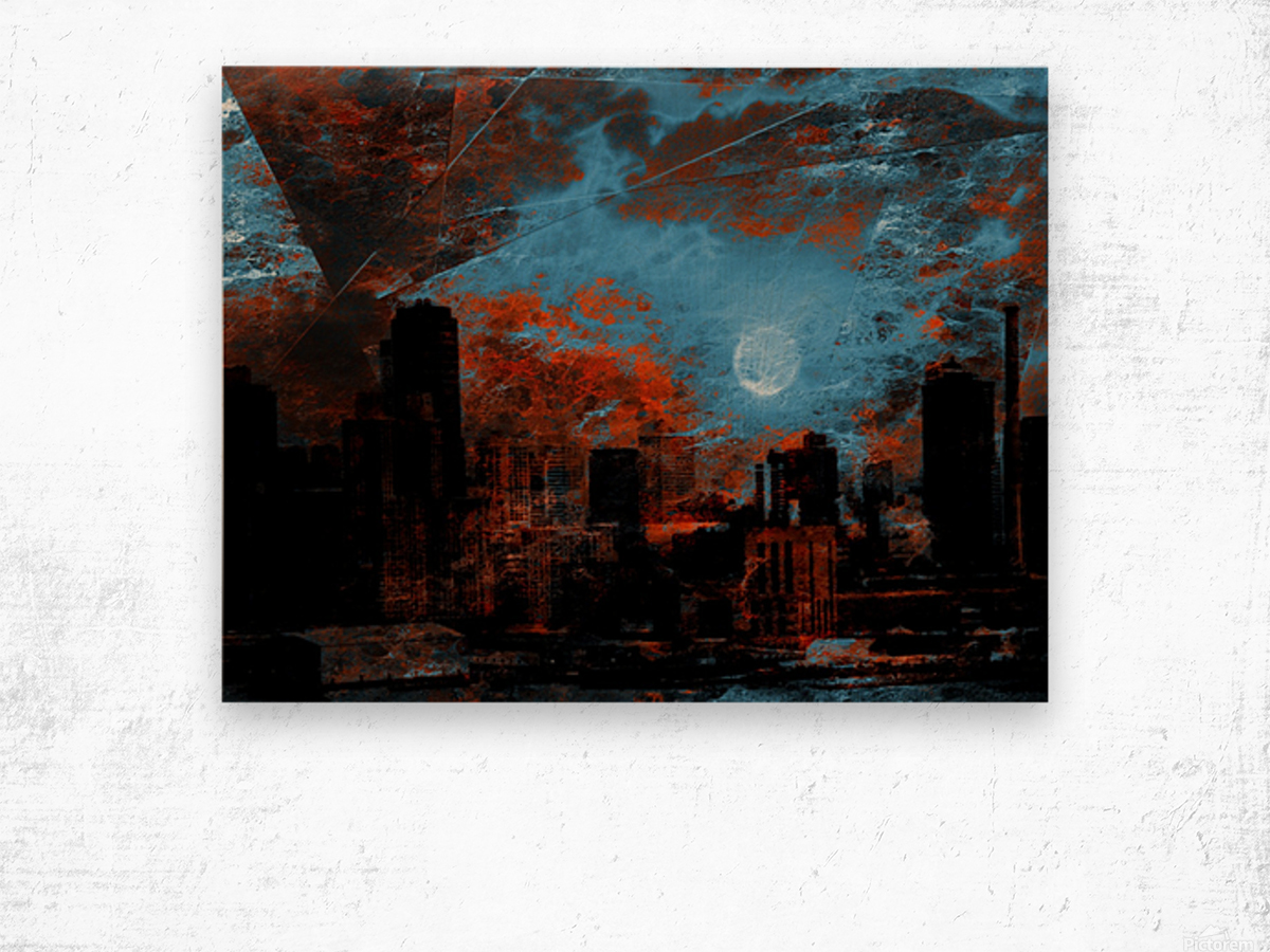 NYC Waterfront Abstraction Wood print