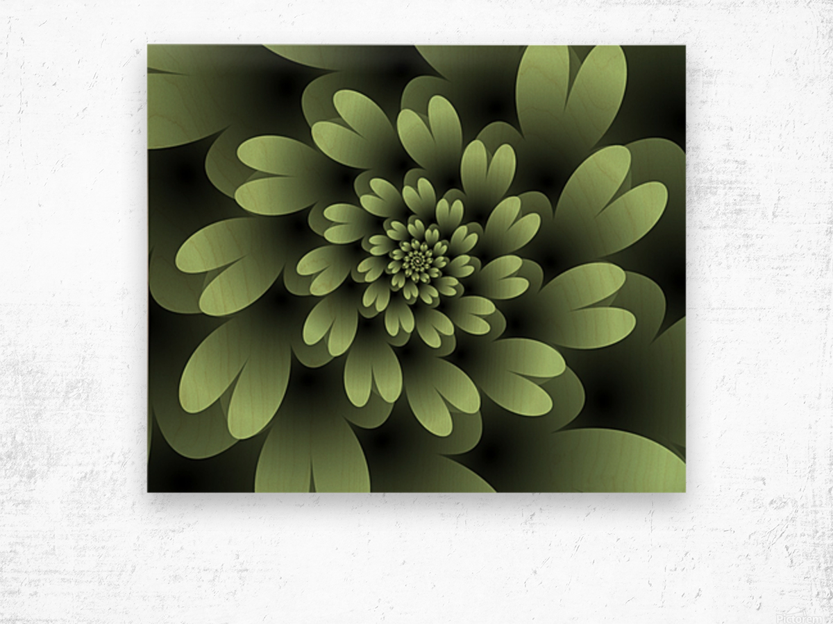 Green Floral Satin Wallpaper Wood print
