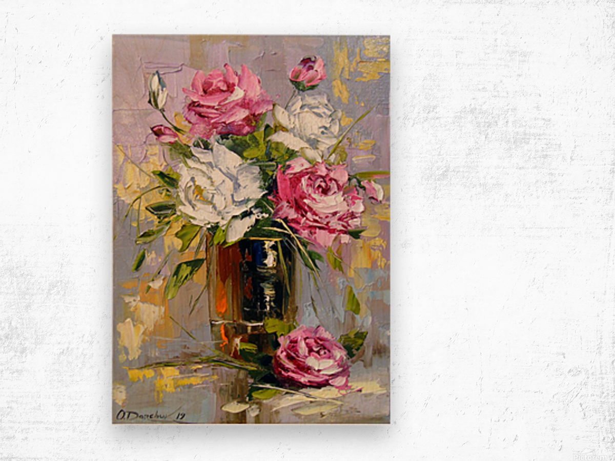 Bouquet of delicate roses Wood print