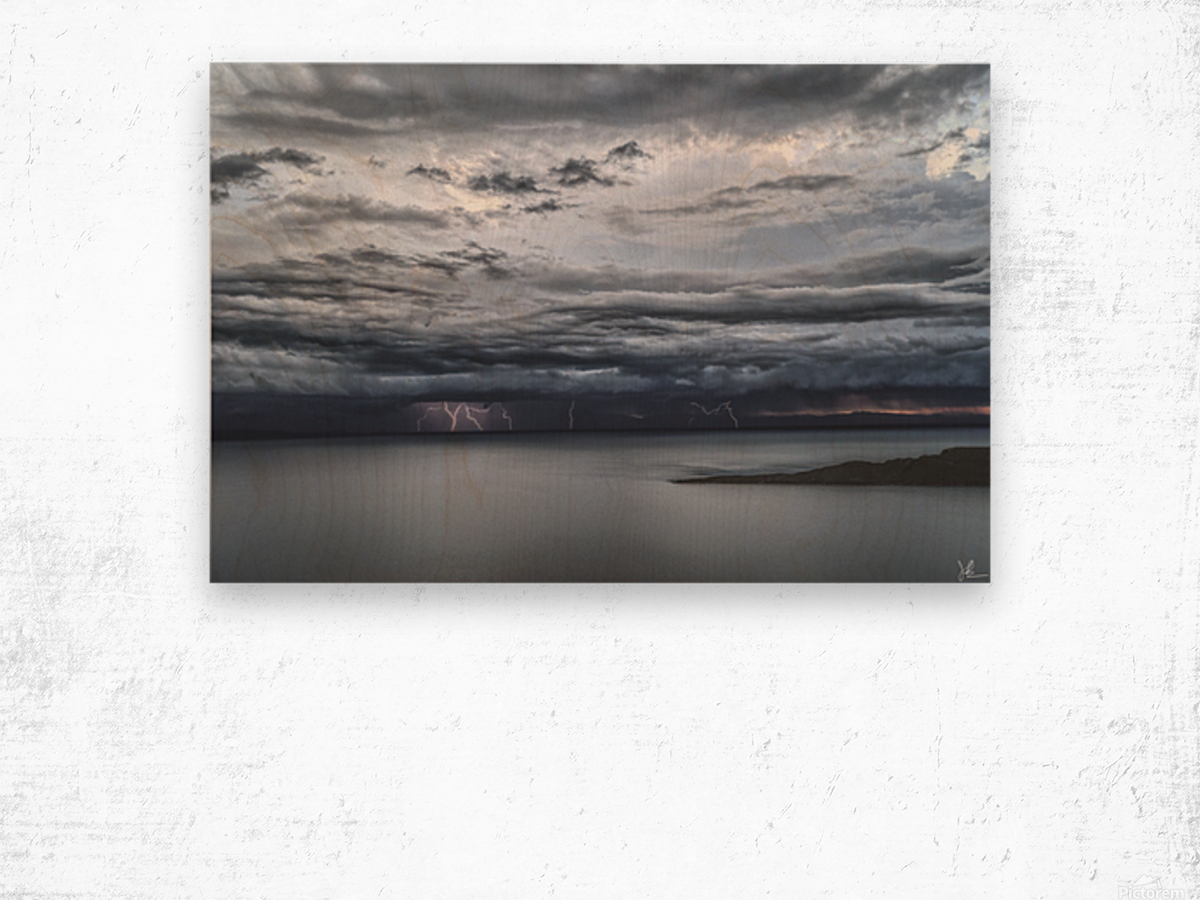 Lightning Over Lake Titicaca Wood print