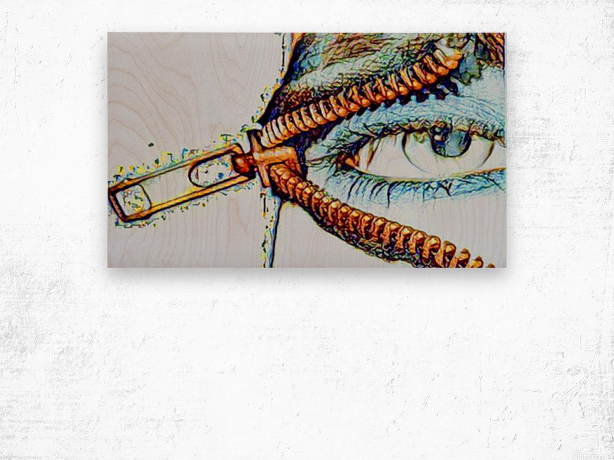 zipper eye Wood print