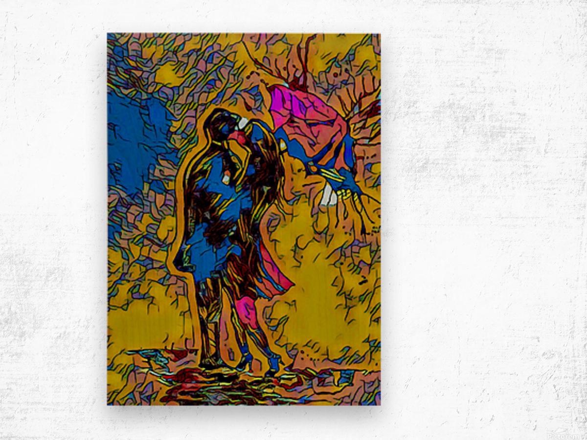 abstract love Wood print