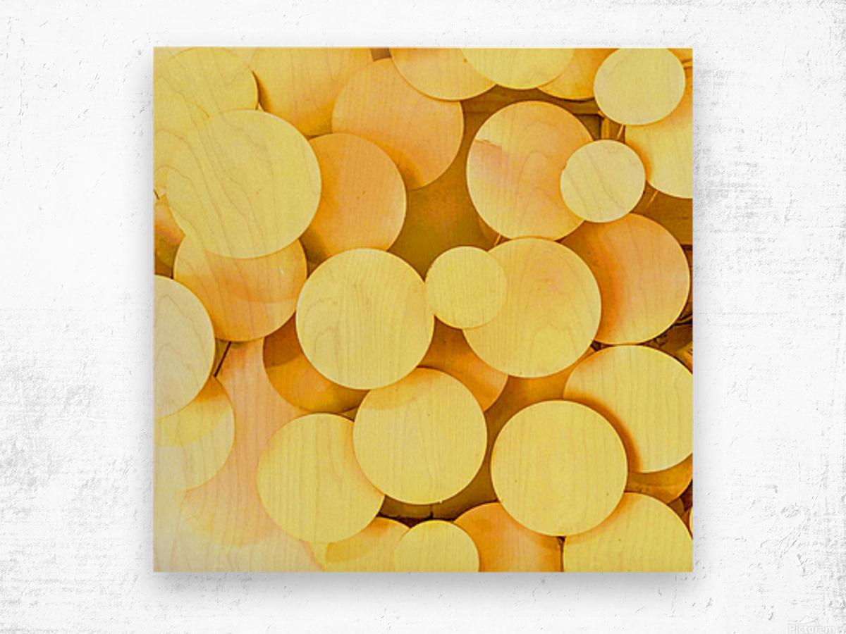 yellow circles Wood print