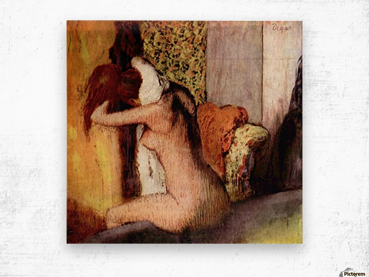 After bathing 2 by Degas Wood print