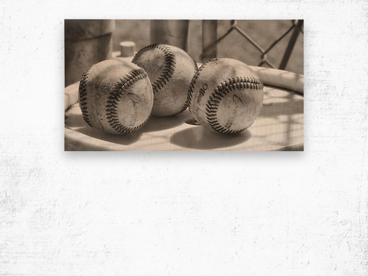 3 Baseballs on a Bucket in Sepia Wood print