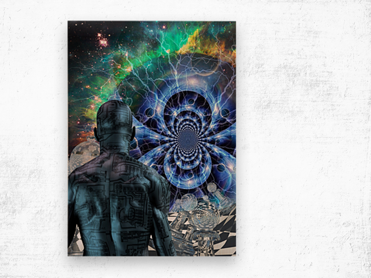 Cyborg in Surreal Space Wood print