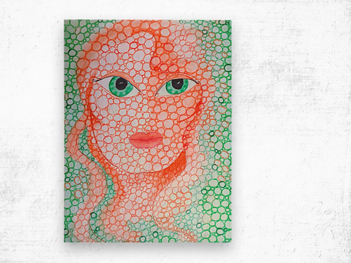 Girl and Circles Wood print
