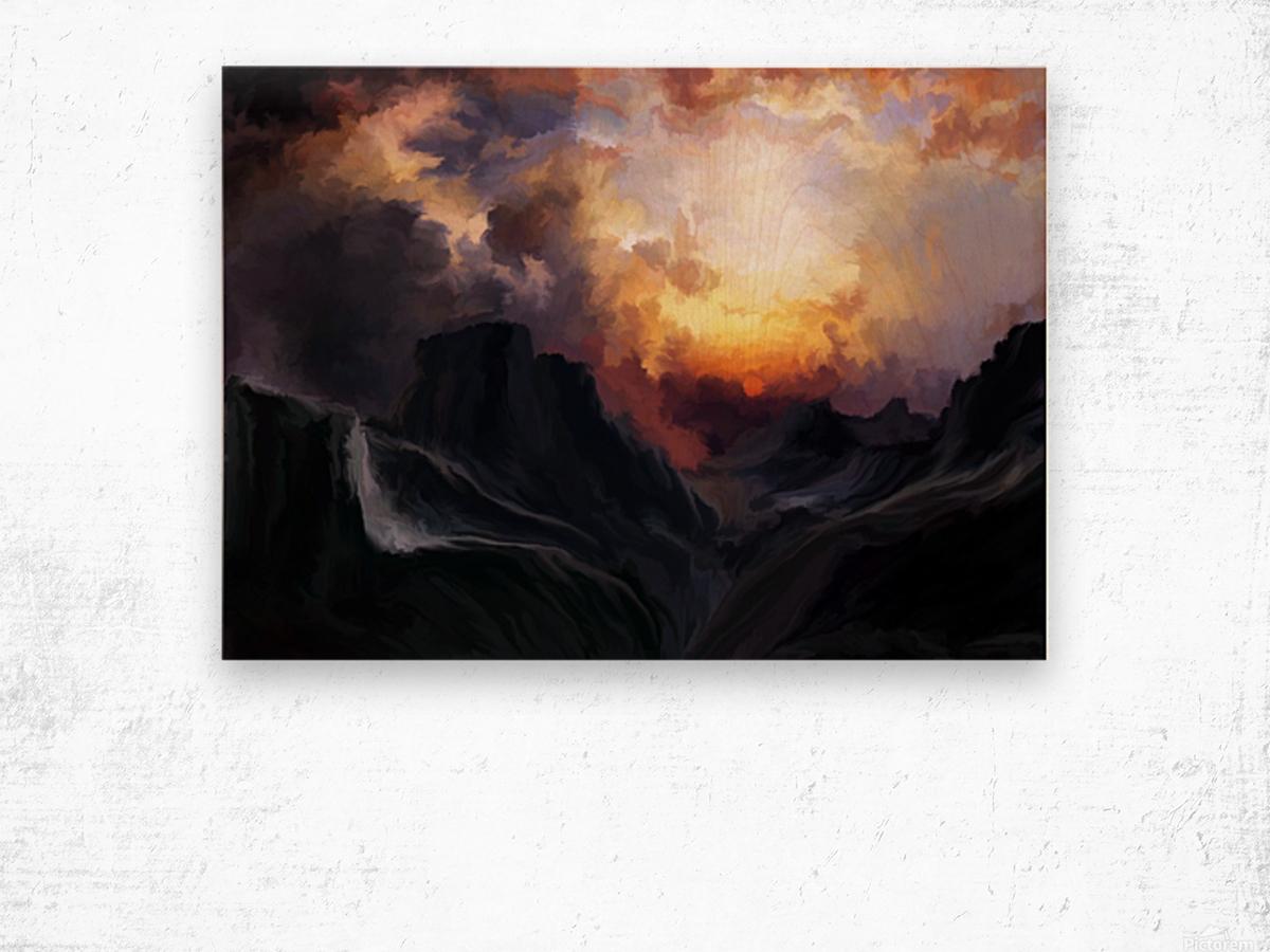 Dark Mountains Wood print