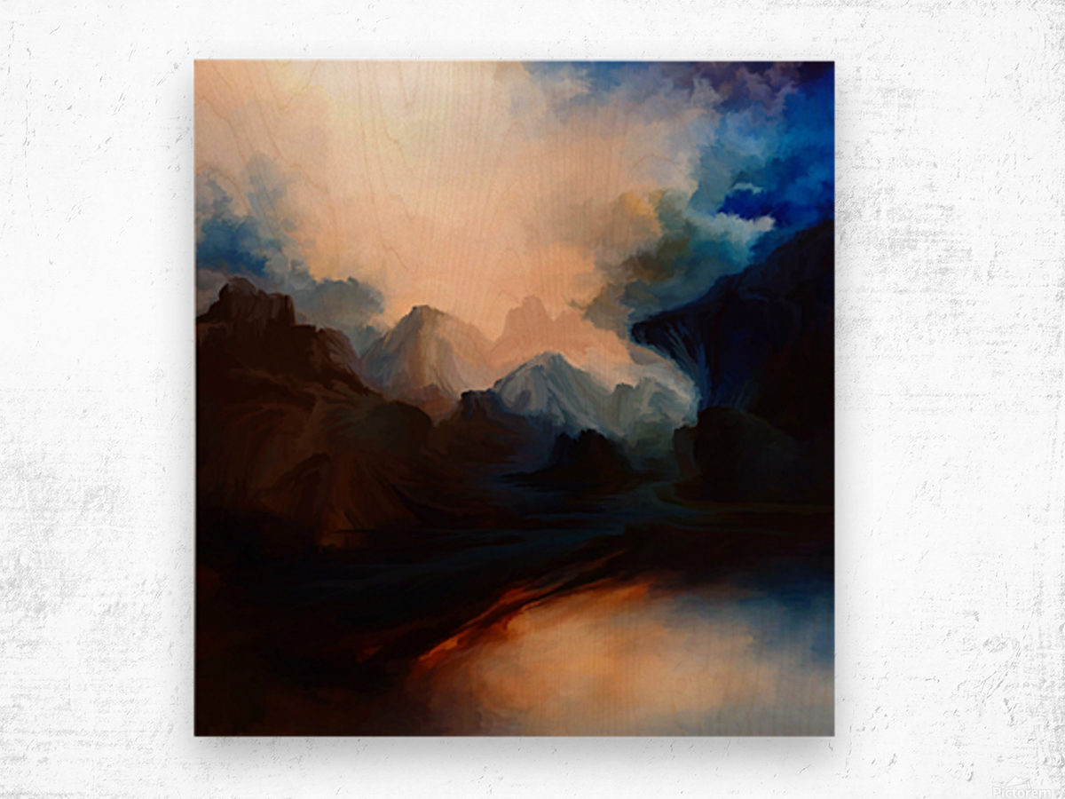 Sunset in the Mountains 25 Wood print