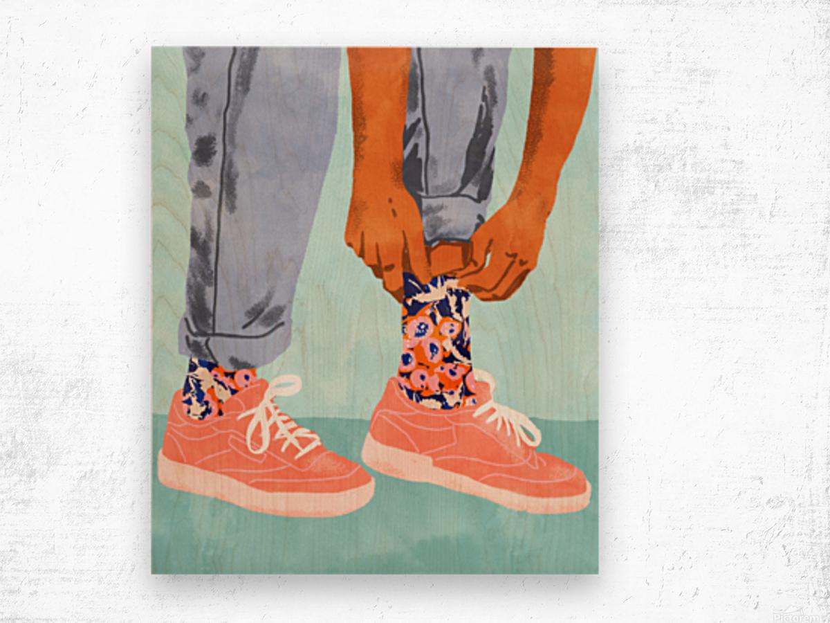 Pull Up Those Pretty Socks Wood print
