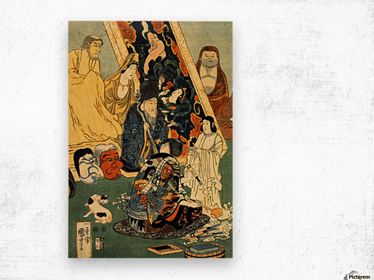 Sculptor Jingoro surrounded by statues Wood print