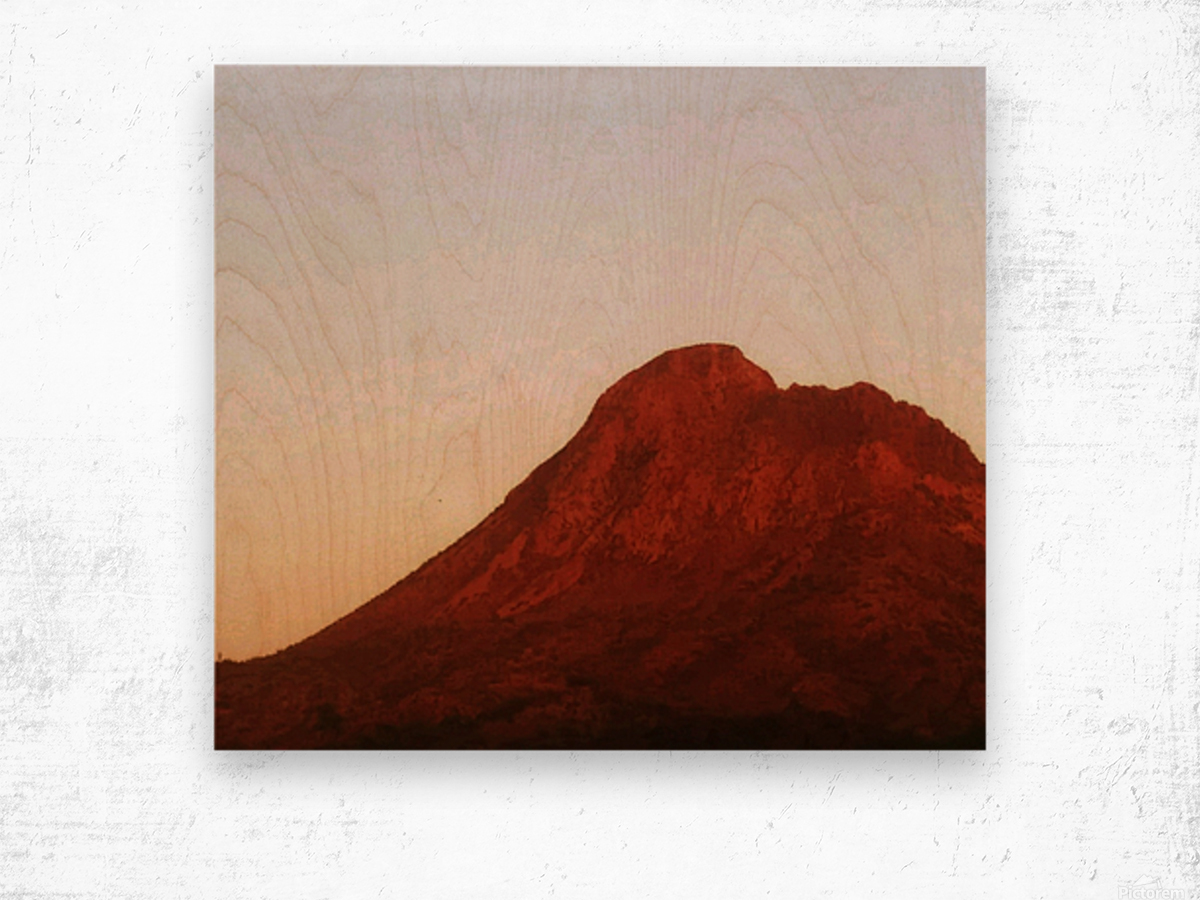 Red mountain side Wood print