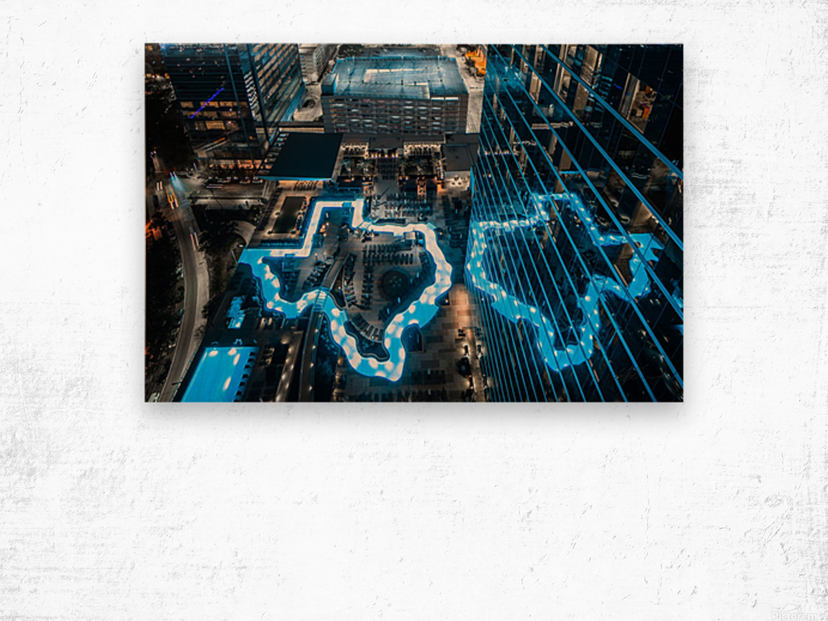 Texas River Hotel Pool Night Wood print