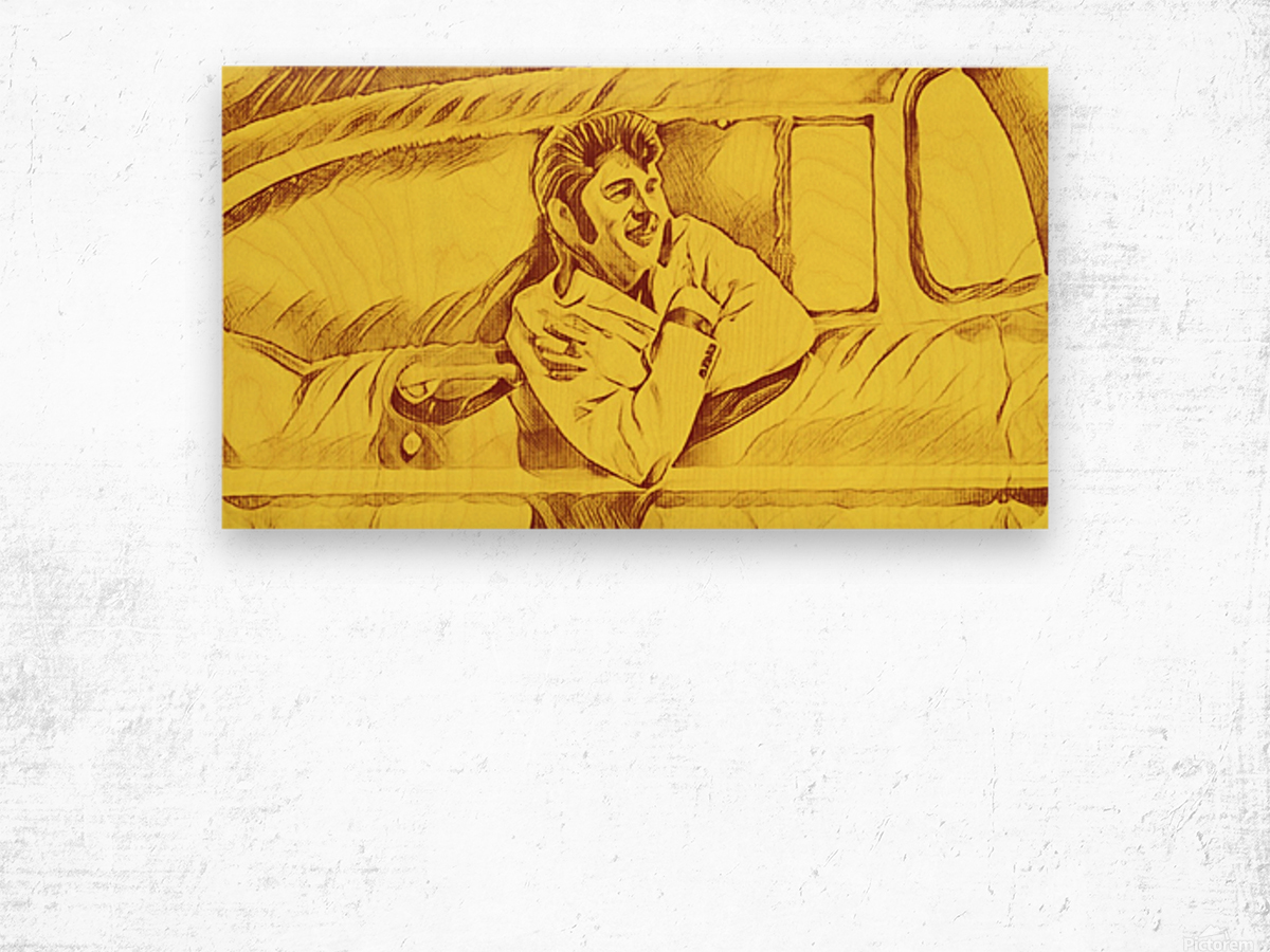 A drawing Of Elvis Presley In a Car Painted Yellow.    Wood print