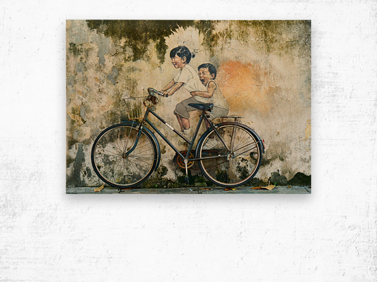 Kid And His Sister On A  Bicycle  Painting   Wood print