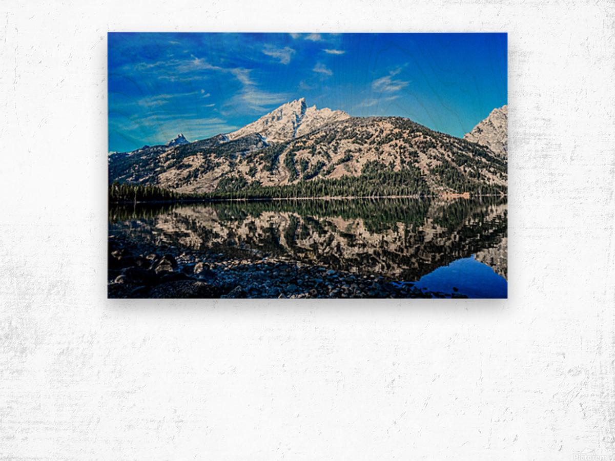 Teton reflection in Jenny lake Wood print