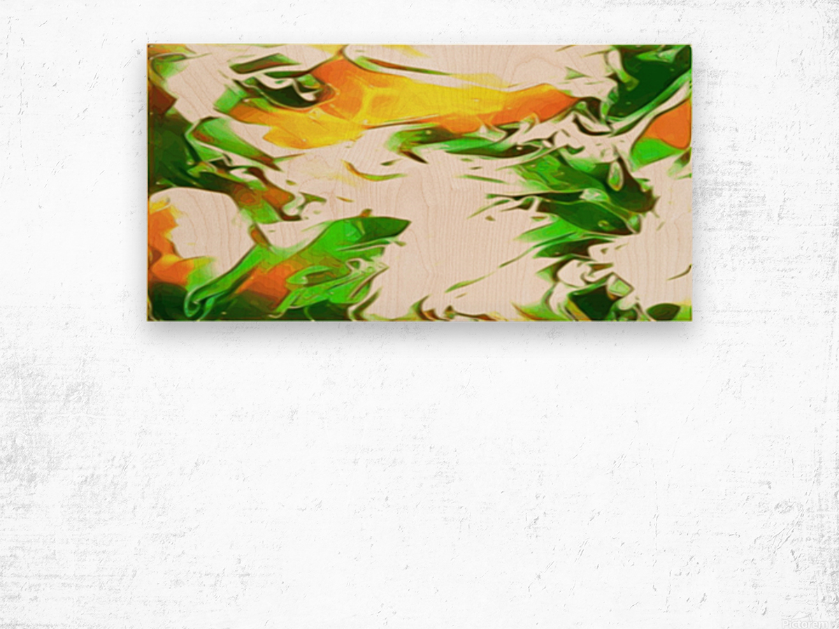 Legendary - green gold and white abstract swirls wall art Wood print