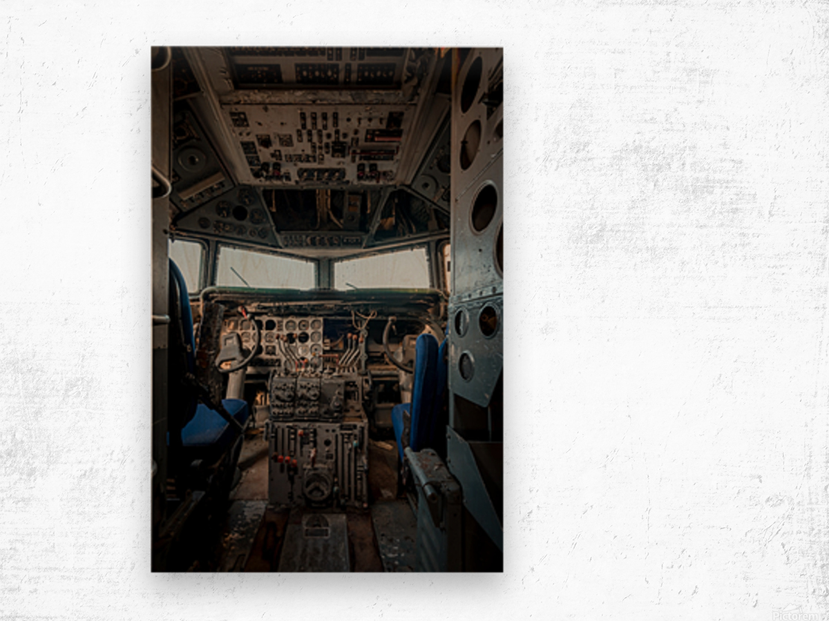 Abandoned Airplane Cockpit Wood print