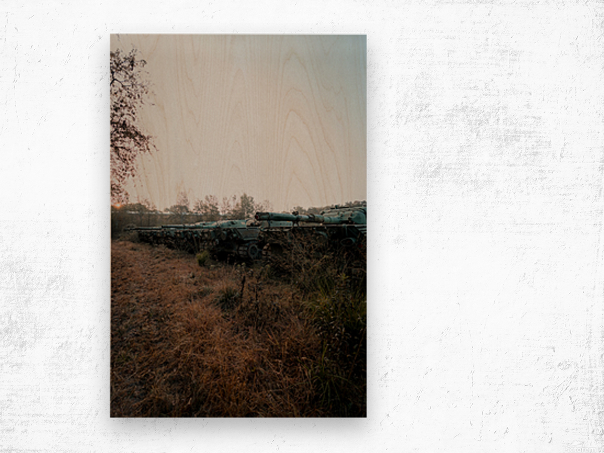 Abandoned Tank Graveyard Wood print