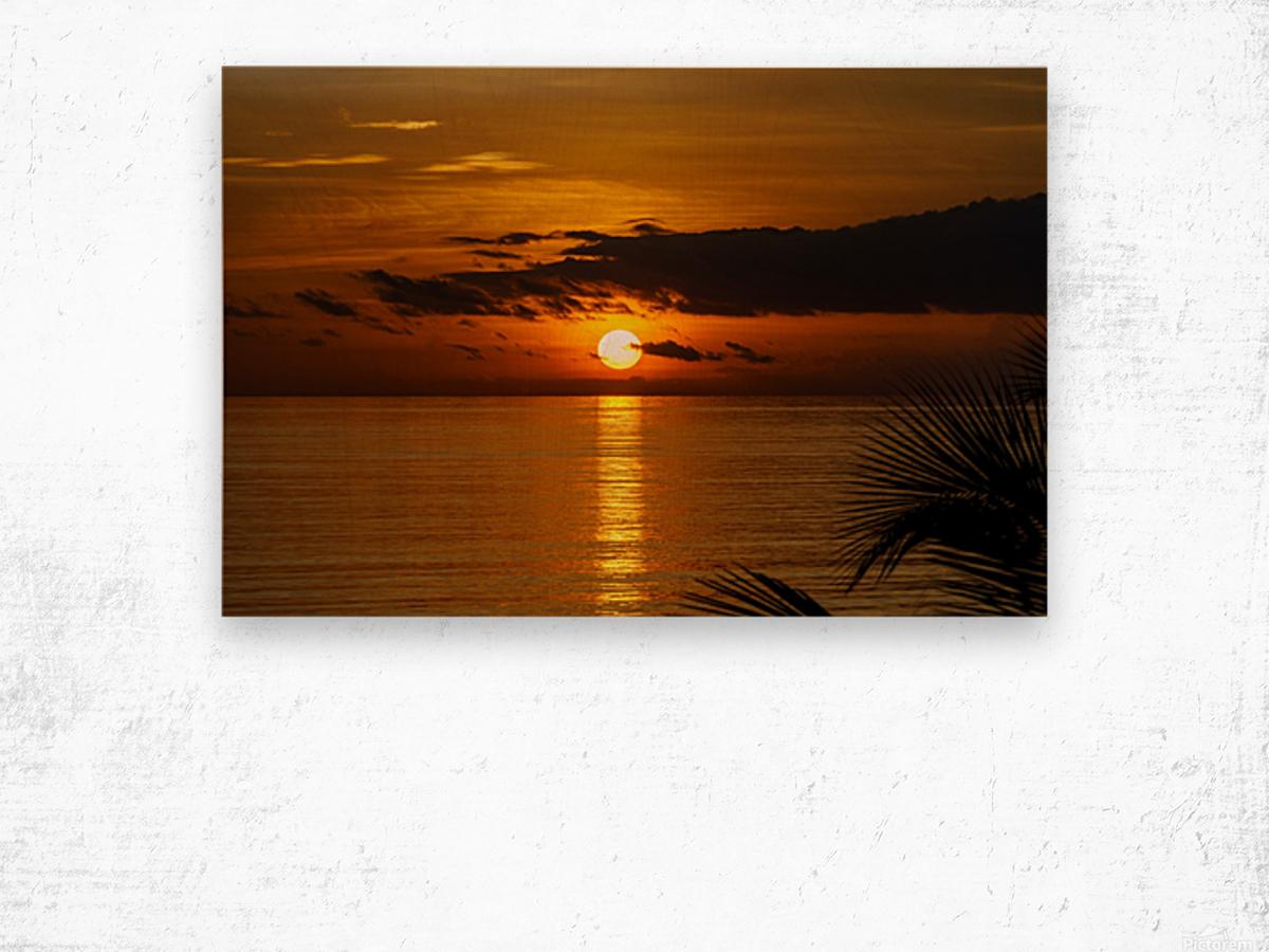 Sunrise at Cayman Kai Wood print