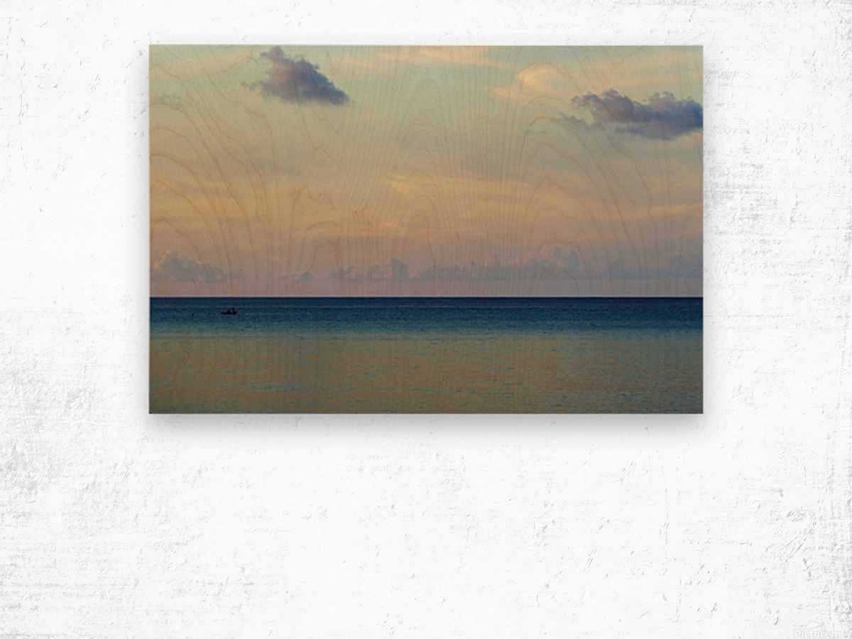 Lone fisherman Wood print