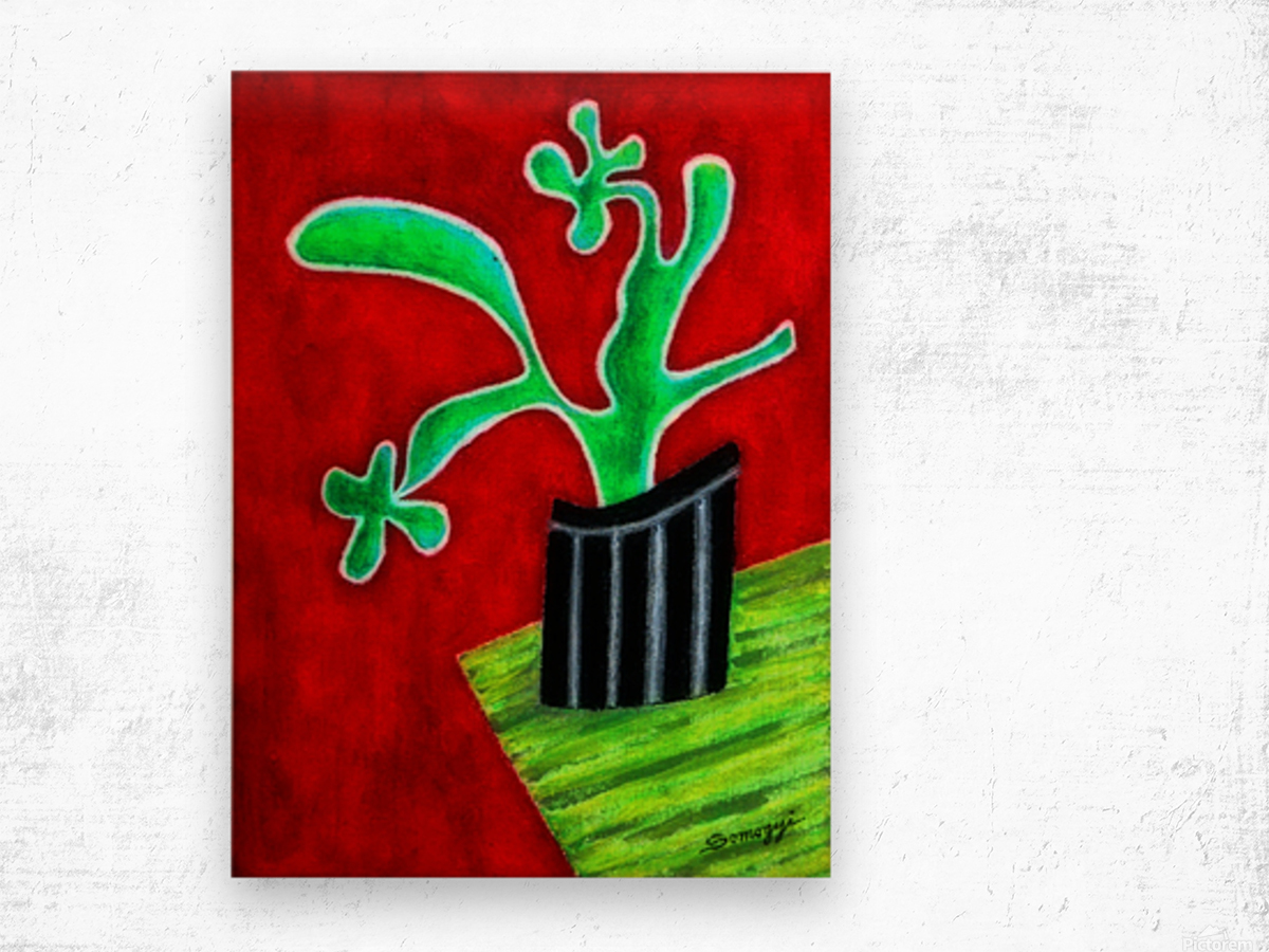 Cactus on Green Table Wood print
