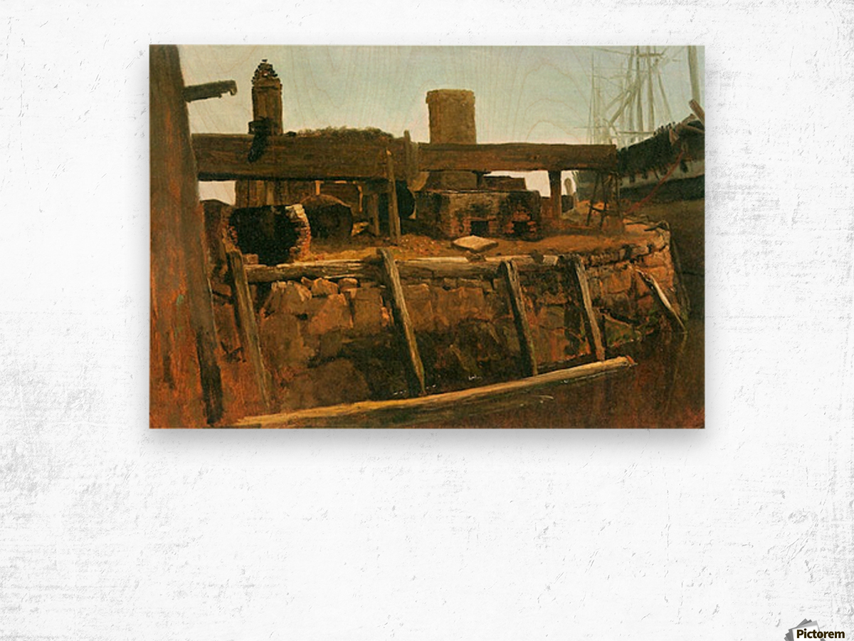 Boat at the dock by Bierstadt Wood print