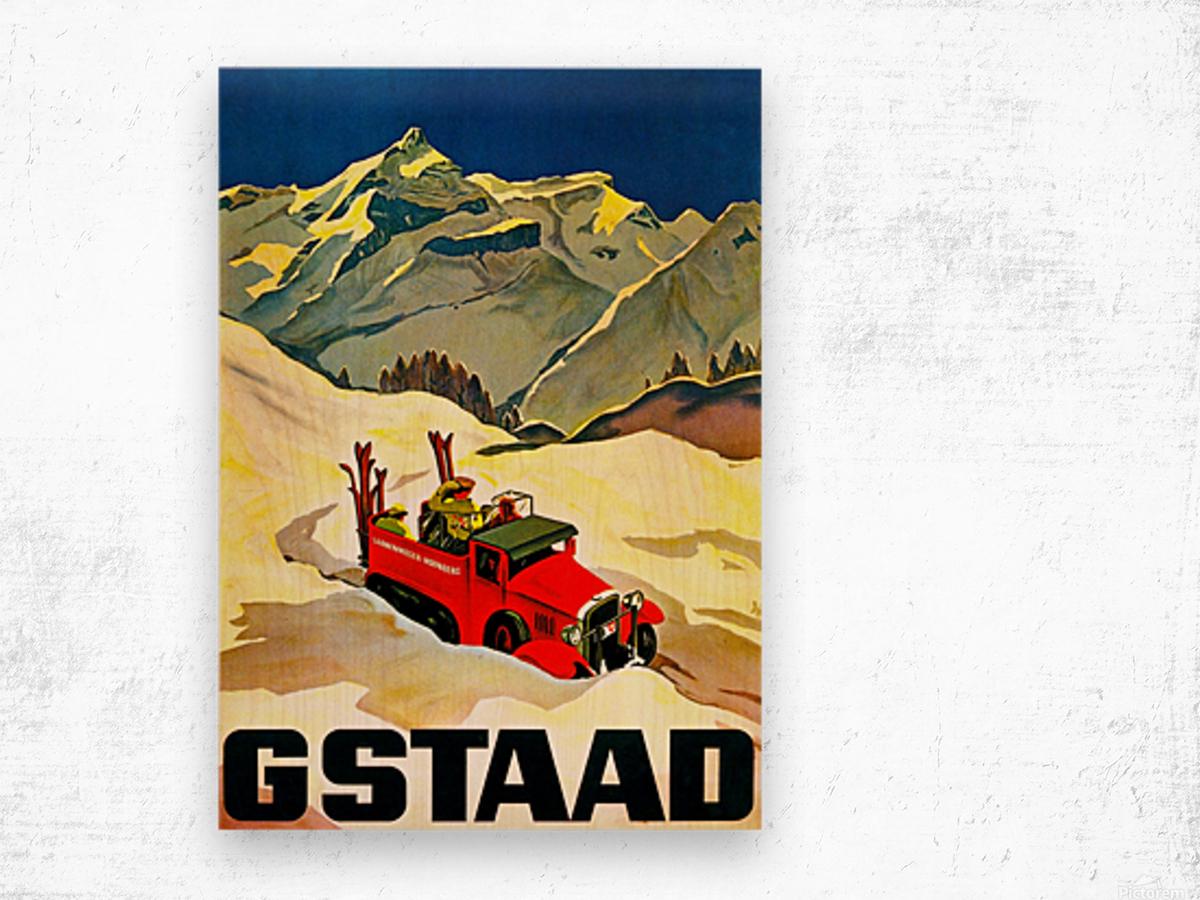 Vintage Travel - Gstaad Wood print