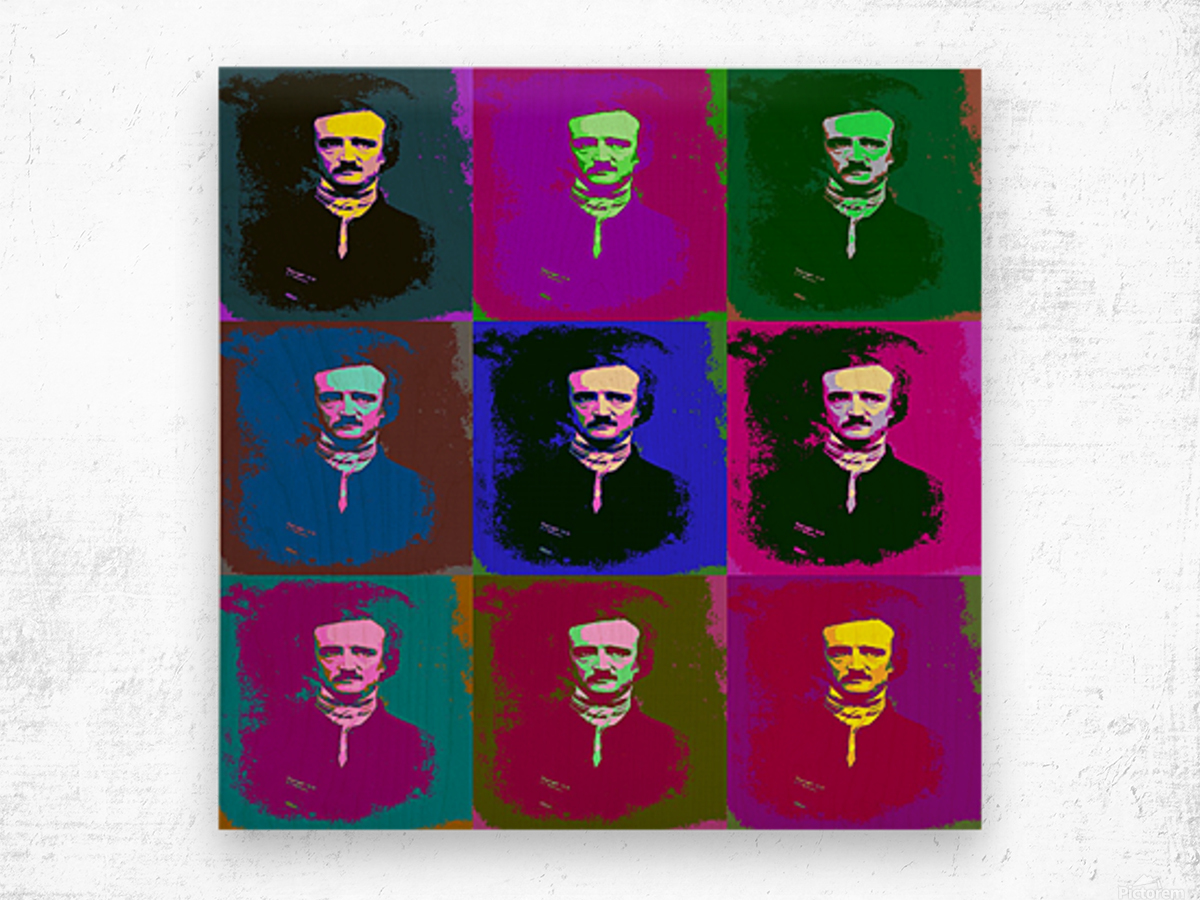 Edgar Allan Poe Pop Art Wood print