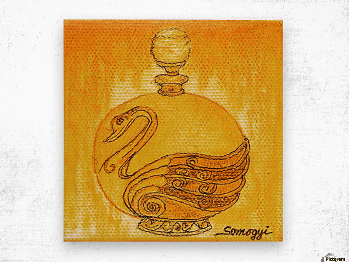 Bottled Gold Swan Wood print