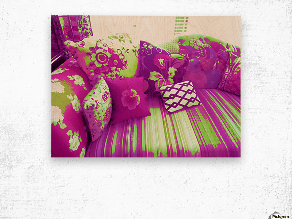 Sofa & Pillows -- Purple & Green Wood print