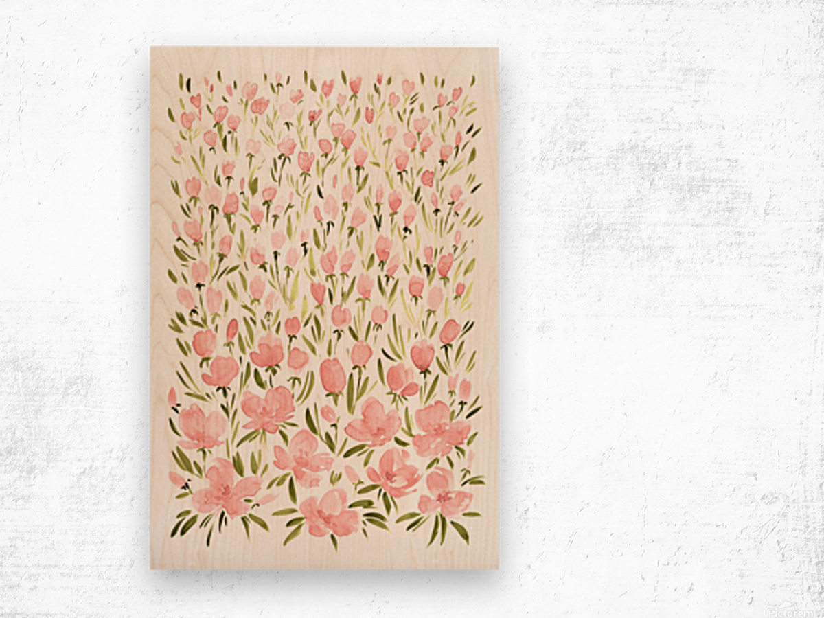 Field of pink watercolor flowers by blursbyai Wood print