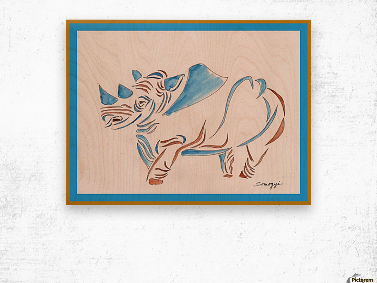 Do Rhinos Come in Blue Wood print